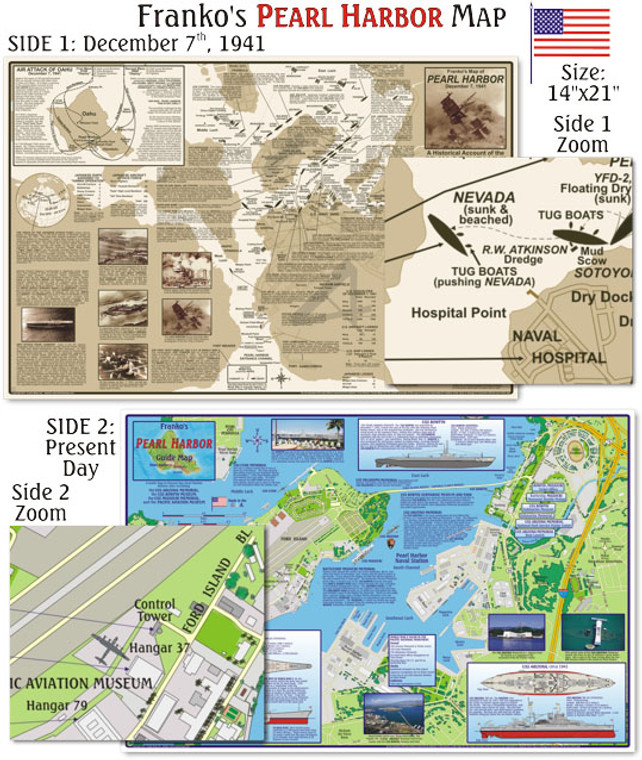 Franko Maps Pearl Harbor Map for Scuba Divers and Snorkelers