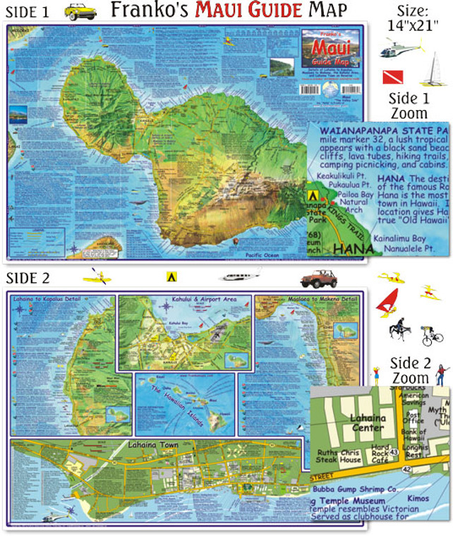 Franko Maps Maui Guide Map for Scuba Divers and Snorkelers