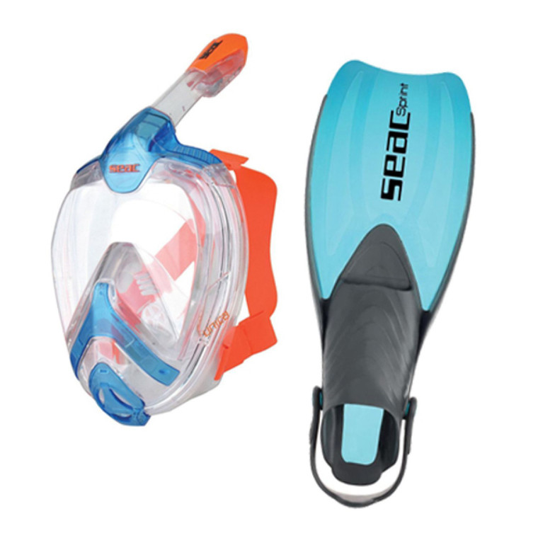 SEAC Unica Full Face Snorkeling Mask and Sprint Fins Set