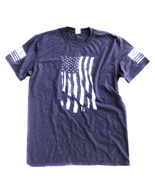 Dara Flag Print T-Shirt - Blackberry