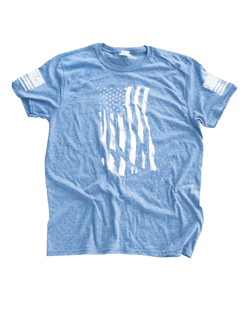 Dara Flag Print T-Shirt - Sky Blue
