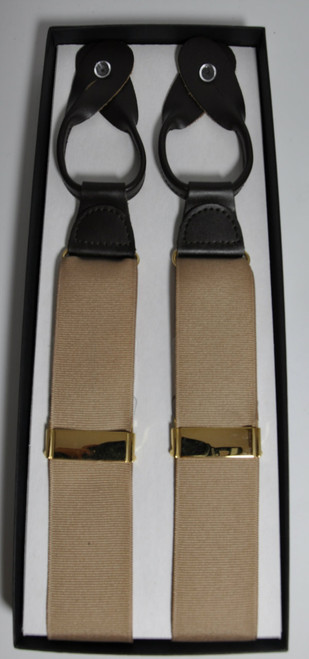 Leather-End Poly-Grosgrain Suspenders