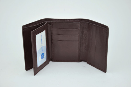 Soft Lambskin Leather Tri-Fold Wallet with Flap
