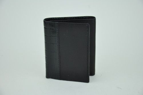 Top Grain Solid Trifold Leather Wallet with Embossed Alligator Trim