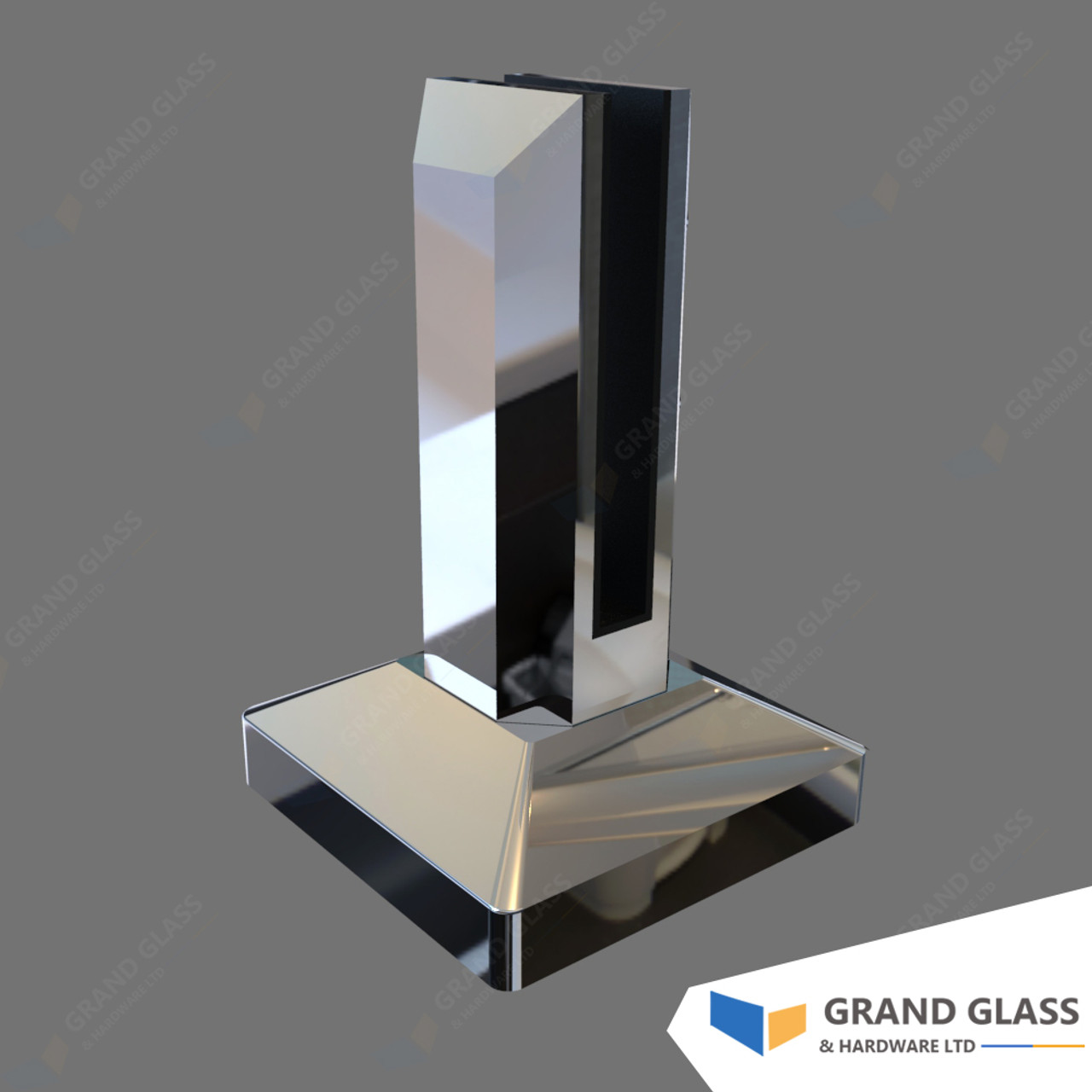 Square Mini Post Chrome Grand Glass