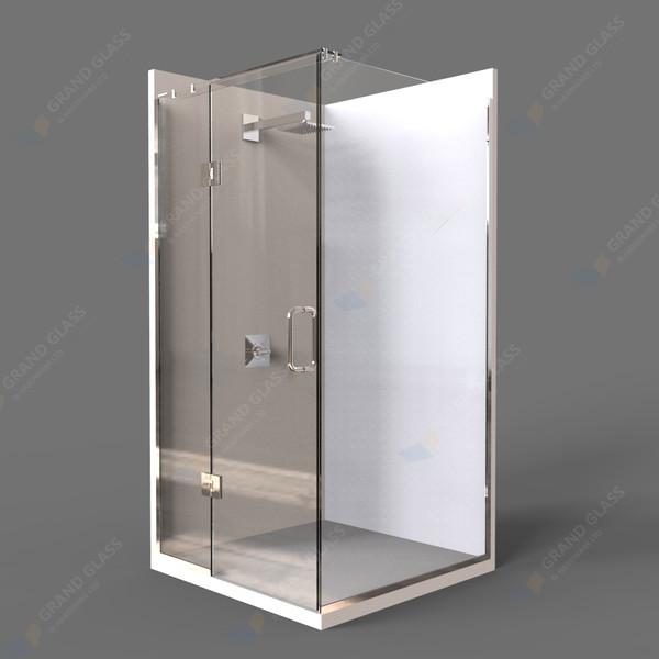 Rectangle Hinge Shower Unit - Chrome/Black