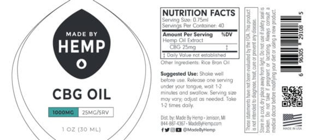 CBG Oil Tincture 1oz (1,000mg CBG) – Natural