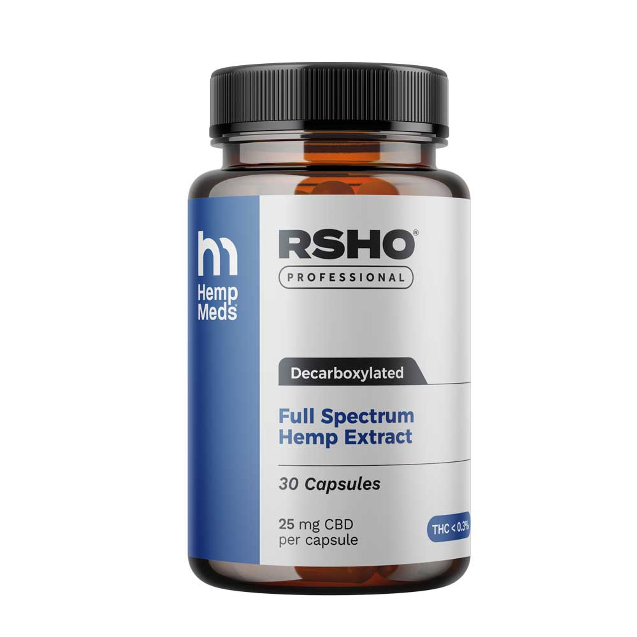 RSHO Pro Blue Label Capsules 25mg CBD 30CT (Heated)