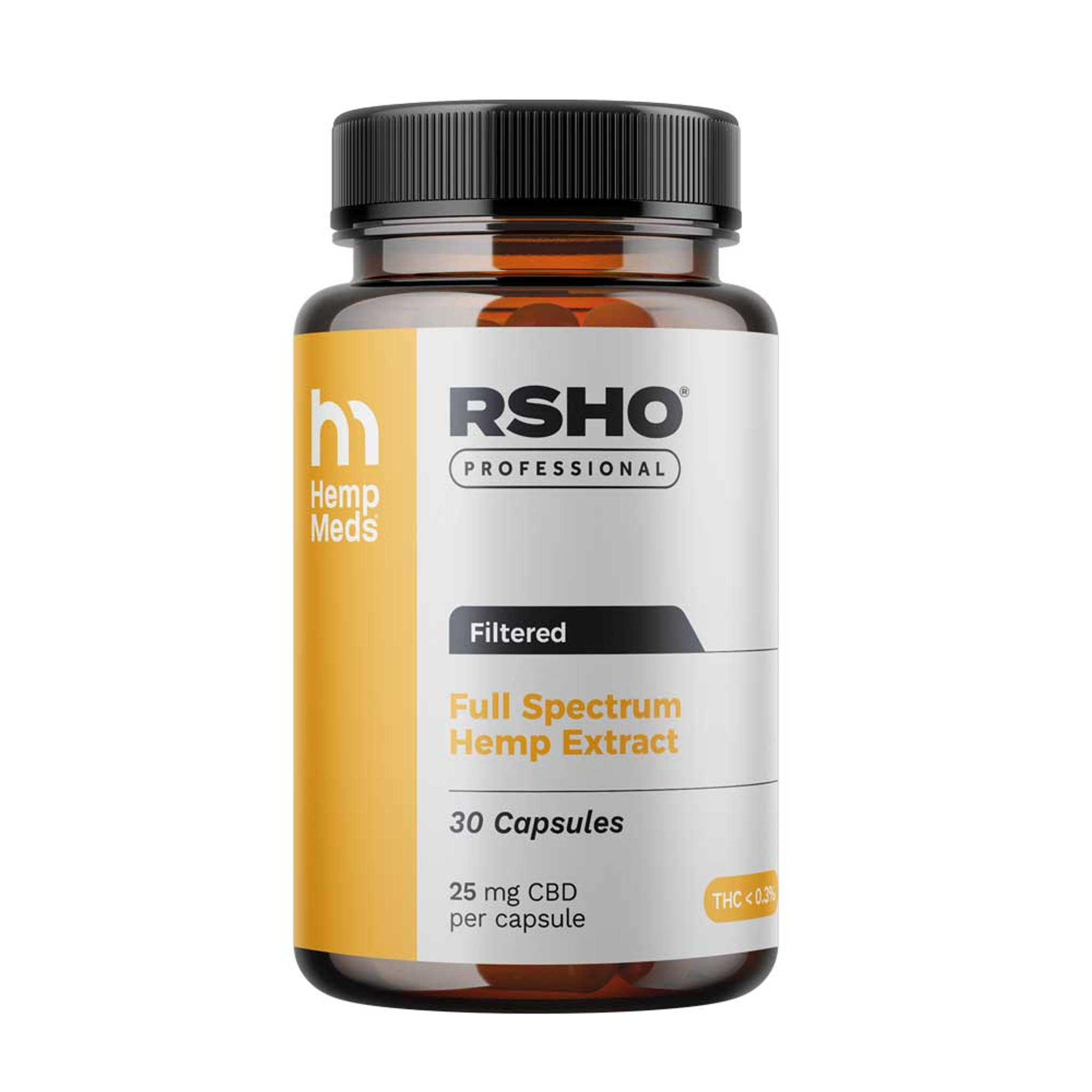 RHSO Pro Gold Label Capsules 25mg CBD 30ct (Heated, Filtered.)