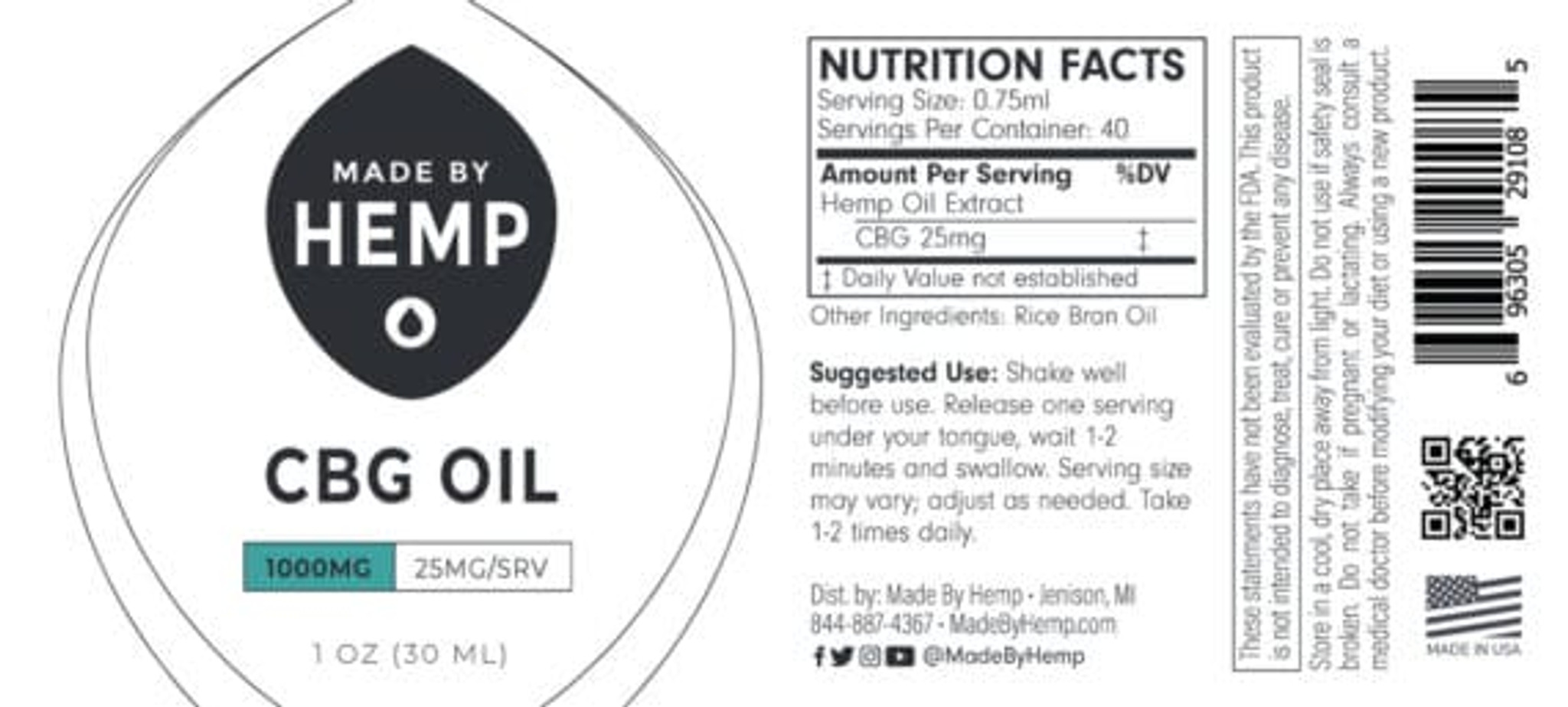 CBG Oil Tincture 1oz (1,000mg CBG) – Natural