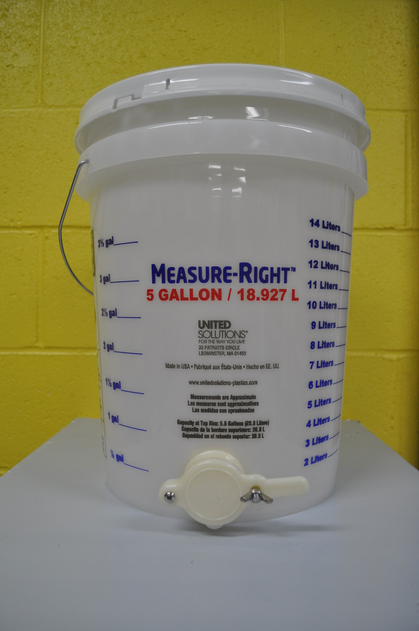 "alt=""5 gallon opaque bucket, allows you to see honey level as it fills, includes basic honey gate"""