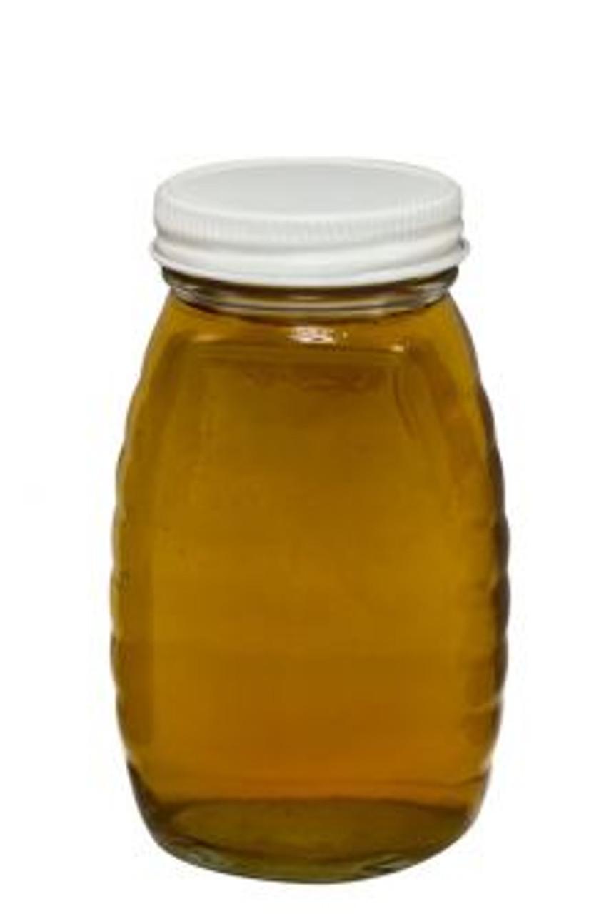 "alt=""16 oz. glass honey bottle with metal lid"""