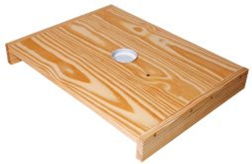 The migratory cover replaces both the inner cover and lid on a hive.  It is used for feeding bees and includes punched feeder cap.