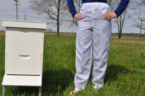 Nylon pants with elastic waist and Velcro ankles.