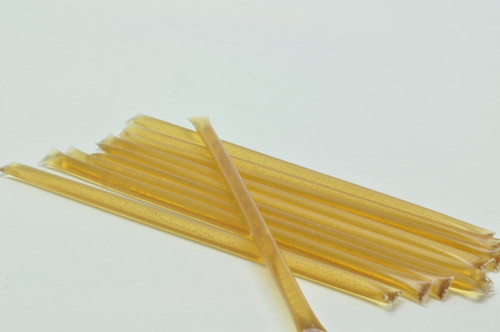 Plastic honey straws are filled with clover honey. Package of 10.