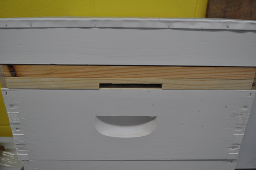 top entrance shown on top of super under inner cover and lid