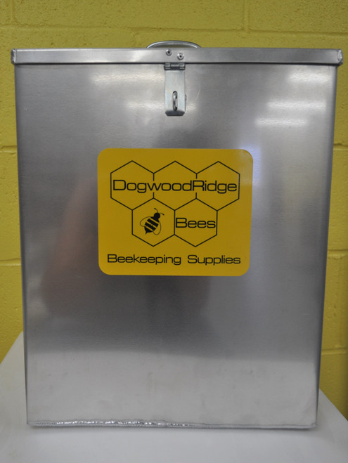 """alt=""""aluminum box with flip-top lid for storing your beehive smoker without risk of igniting surrounding materials"""""""