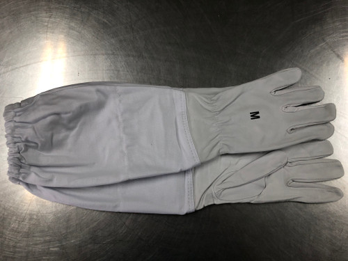 "alt=""goatskin beekeeping glove top view"""