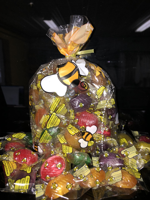 Small Honeybee Gift Bag shown with honey candy.