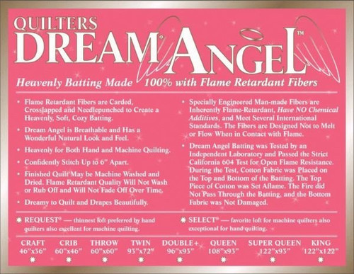 QUILTERS DREAM ANGEL *SELECT WEIGHT* ~ Made 100% from Flame Retardant Fibers