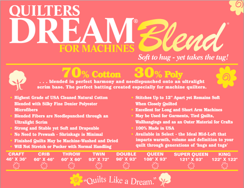 QUILTERS DREAM BLEND 70/30 FOR MACHINES