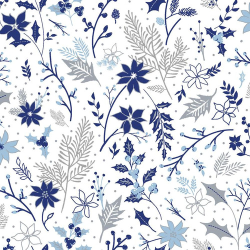 Blue Holiday - Leaves on White