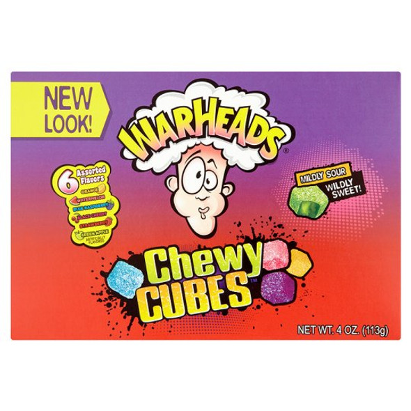 Warheads chewy cubes theatre box.