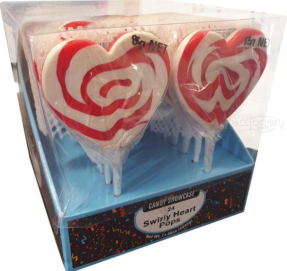 mega swirly heart pop 85g red