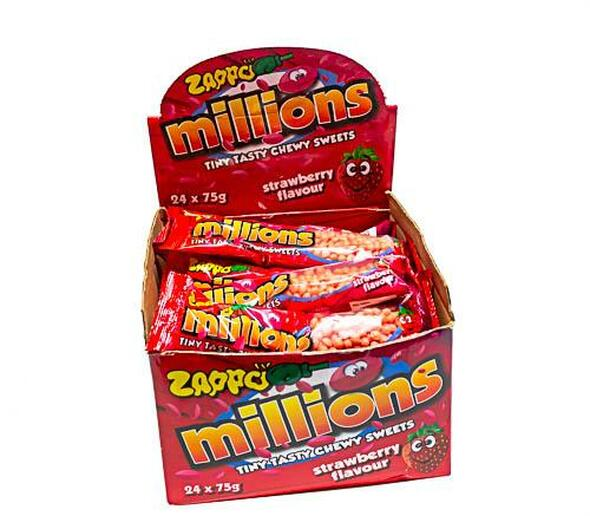Zappo Millions Strawberry24 x 75g bags.