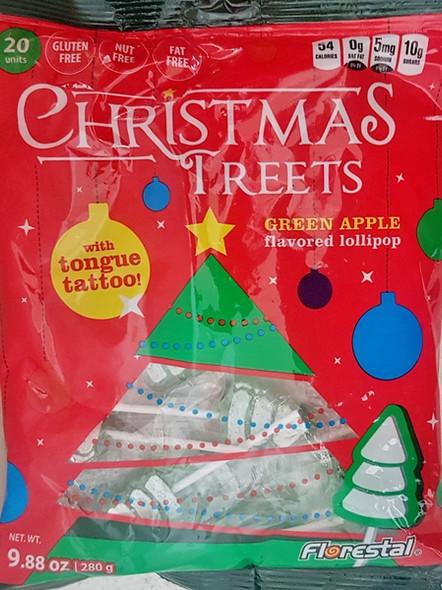Xmas Tree flat green apple lollipops in a 280g bulk bag