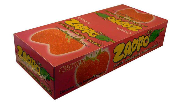 strawberry flavoured zappo confectionery made by crown
