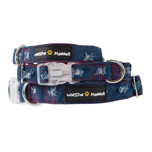 Winston Manner Disco Denim Dog Collar