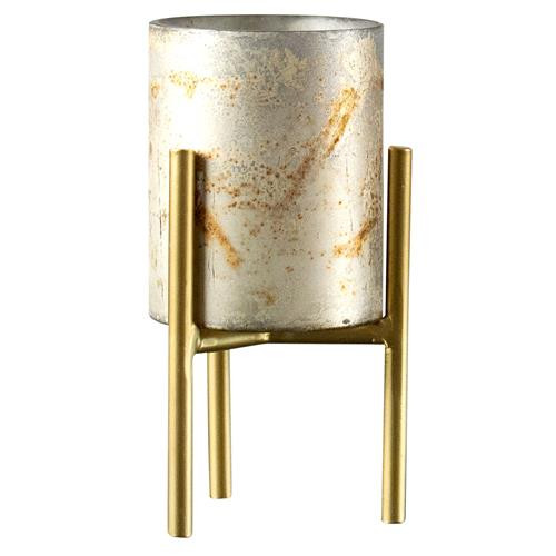 Gold Mercury Glass Candle Holder-Short