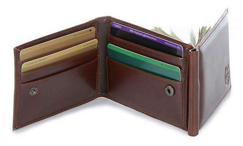 3 FOLD MONEY CLIP WALLET-BROWN