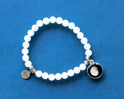Moonstone Beaded Bracelet in White