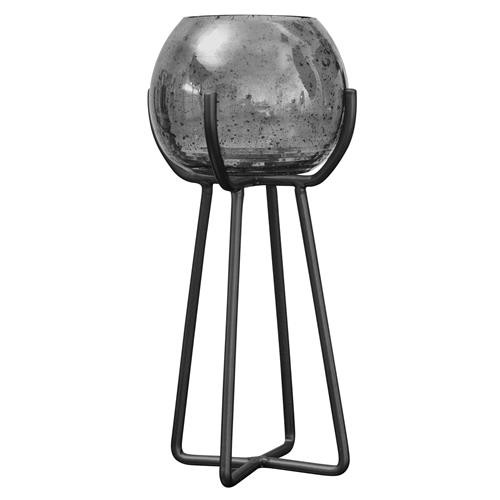 Silver Luster Bubble Glass Candle Holder-Tall