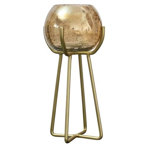 Gold Luster Bubble Glass Candle Holder-Tall