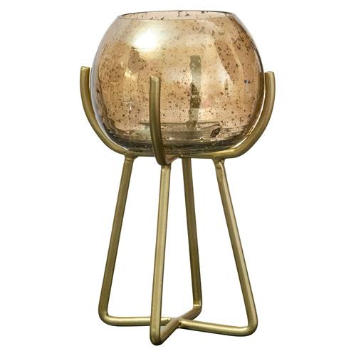 Gold Luster Bubble Glass Candle Holder-Short