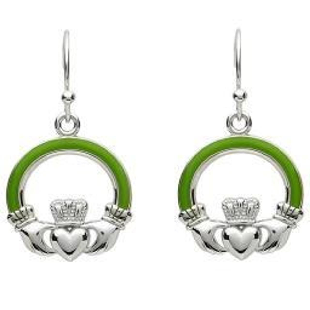 e36059219076b Green Enamel Large Claddagh Earrings