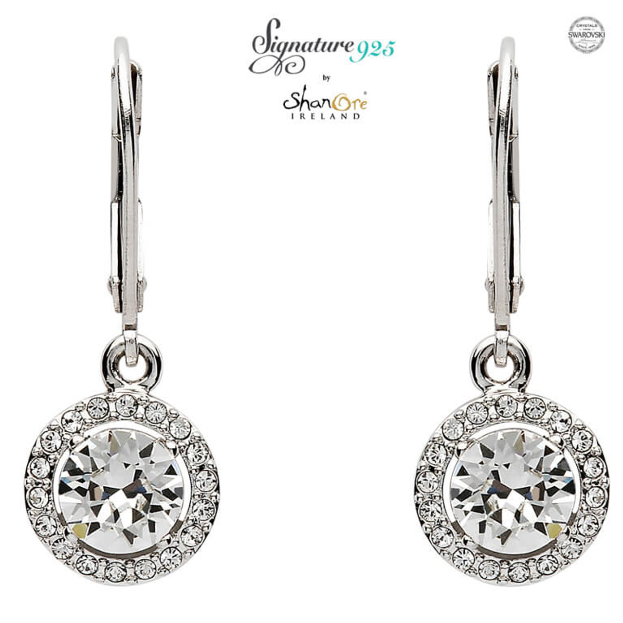 acf6fd4414e1df Round Halo Silver Drop Earrings Adorned With Swarovski Crystals