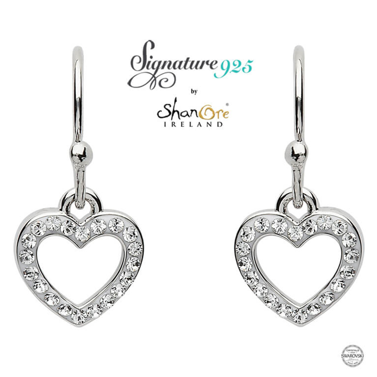 buy online 100% original elegant and graceful Sterling Silver Heart Shape Earrings Adorned With White Swarovski Crystals
