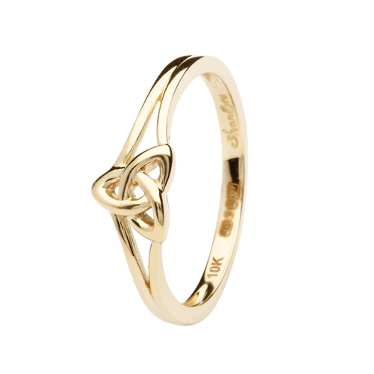 10k Yellow Gold Trinity Knot Ring Irish Gold Jewelry