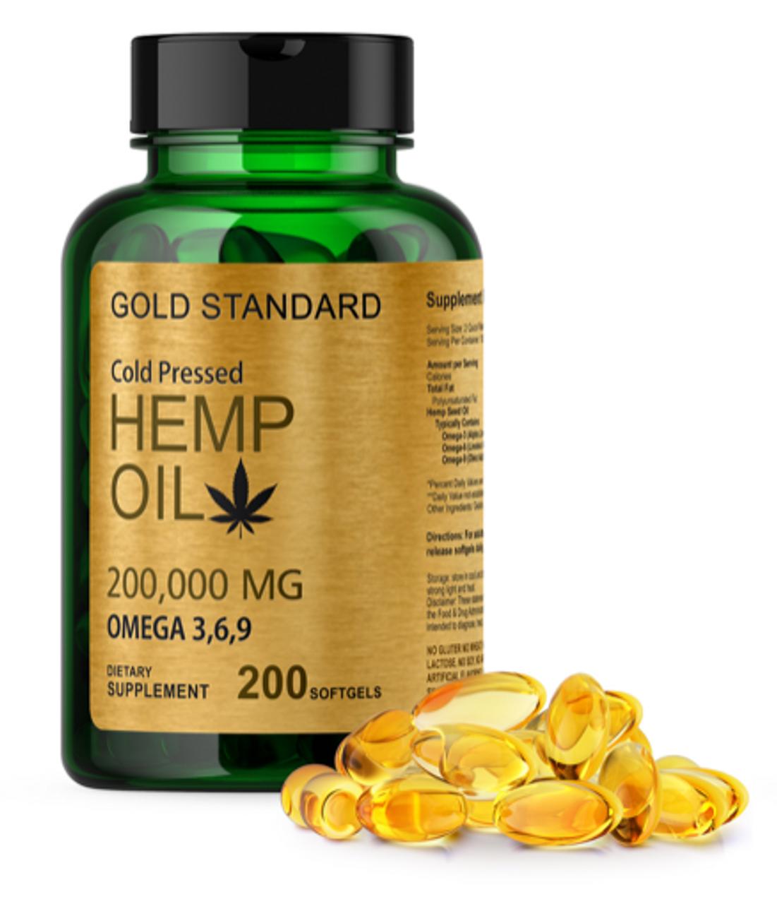 Cold Pressed Hemp Seed Oil Capsules 2000mg 200 Soft Gel Omega 3 6 9 Fatty Acids Nutrivitashop