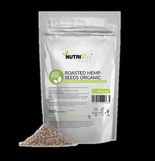 Premium Roasted Hemp Seeds (Gluten Free + Vegan + nonGMO + Organic Grown)