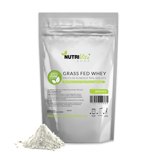Whey Protein Isolate 90% Grass Fed USDA Certified (Unflavored) 100% Pure