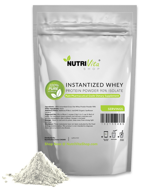 100% Pure Grass Fed Instantized Whey Protein Isolate 90% Unflavored