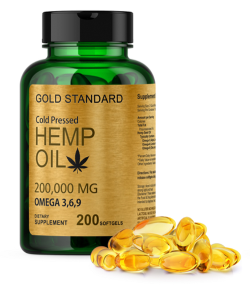 COLD PRESSED HEMP SEED OIL CAPSULES 2000mg 200 Soft gel Omega 3 6 9 Fatty Acids