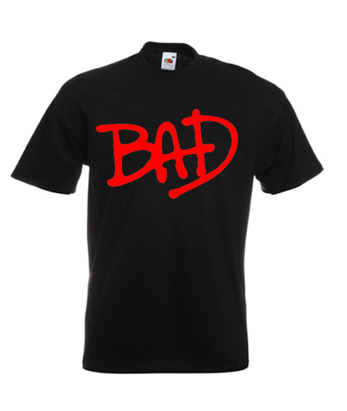Mens black Michael Jackson Bad Classic 80s Music T Shirt
