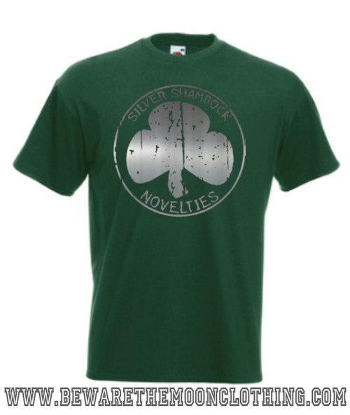 Mens bottle green Silver Shamrock Novelties Halloween 3 80s Horror Movie T shirt