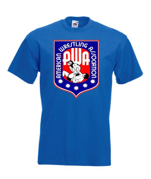 Mens royal blue AWA American Wrestling Association Wrestling T Shirt